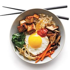 Bibimbop  - We made this with scrambled egg instead of the sunny side up egg. We also used Maggi Taste of Asia Mild Sweet Chili Sauce instead of the Korean chili paste since we couldn't find it at our grocery store. A great recipe!