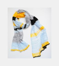 Summer lace scarf Knitted summer scarf Blue yellow by SOVAknits