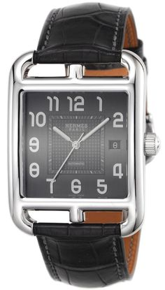 HERMES CAPE COD GRAY DIAL AUTOMATIC WINDING ALLIGATOR LEATHER MEN WATCH CD6.710.230 / MGA