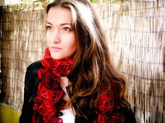 'Red ruffle scarve scarf. frilly lace knitted winter Fashion accessories' on getbestdecision.com