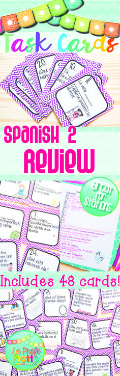 Want to review everything your students learned in Spanish 2 before they leave for the summer OR go over Spanish 2 concepts at the beginning of Spanish 3 to refresh your students' memories? This task card set comes with 48 different cards to get your students up and moving while reviewing topics learned in Spanish 2.