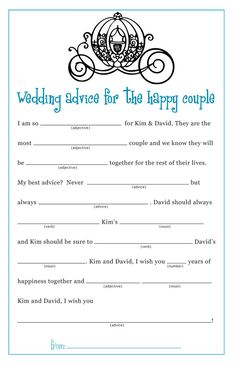 Bridal Shower Wedding Mad Lib