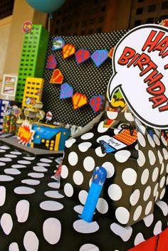 "Photo 25 of Superhero / Birthday """"Superheroes Headquarters"""" Superman Birthday Party, Superhero Theme Party, Party Themes For Boys, 1st Birthday Parties, Boy Birthday, Birthday Ideas, Villains Party, Happy Birthday Banners, Birthday Decorations"