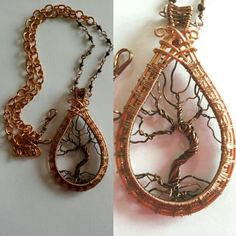 Wire wrapped tree of life pendant. Wire weave copper.
