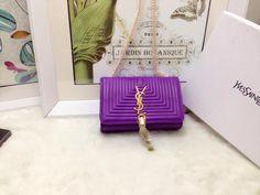 S/S 2015 Saint Laurent Bags Cheap Sale-Classic MONOGRAM SAINT LAURENT Tassel Satchel in Purple Matelasse Leather