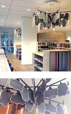 lichtconcept en hanglamp KrOOn Office met wolken in bibliotheek Den Haag