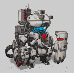 by Max Davenport Robot Concept Art, Robot Art, Character Concept, Character Art, Character Design, Cyberpunk, Suit Of Armor, Robot Design, Machine Design