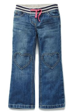 Mini Boden Heart Patch Pants.  My little girl loves these!  Never too tight at the waist.  Mini Boden is awesome.