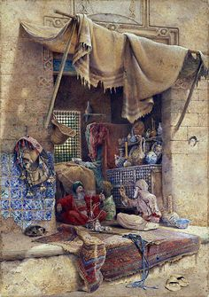 Bazaar gossip 1886 By Charles Robertson,(British, 1844-1891) watercolor & bodycolor with gum , 101.5 x 71.3cm