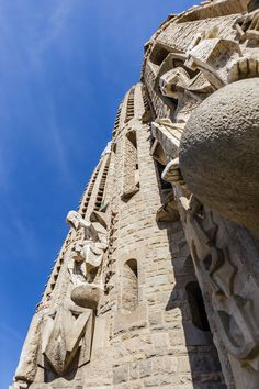 Taken when climbing up La Sagrada Família's Bell Tower in Barcelona, Spain. The Bell Towers are dedicated to twelve apostles. Gaudi, Barcelona Spain, Towers, Looking Up, Climbing, Mount Rushmore, Mountains, Building, Tours