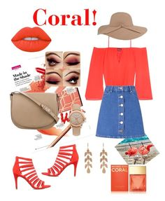 """Coral!"" by starnaomy on Polyvore featuring moda, KG Kurt Geiger, Bebe, Miss Selfridge, Lime Crime, Michael Kors, CÉLINE, Irene Neuwirth y Burberry"