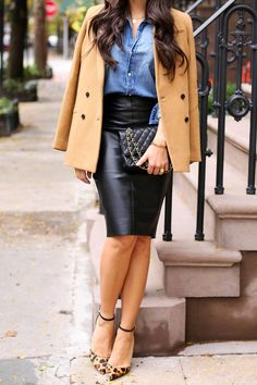 In love with this chic fall look from With Love from Kat. She styles our camel double-breasted blazer over a denim button down and slim leather pencil skirt. She ties together the look with a black leather bag and cheetah print pointed toe heels | Banana Republic