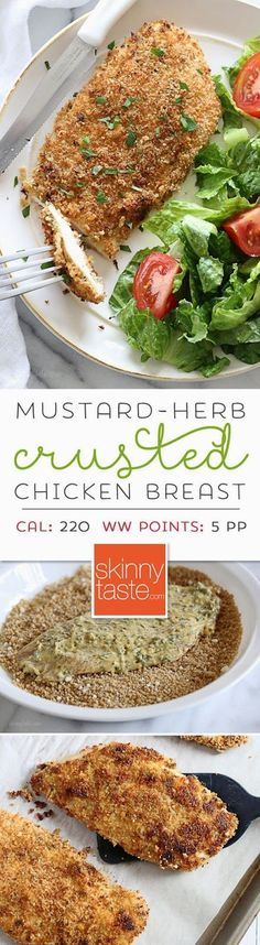 FOR FODMAP, OMIT GARLIC AND USE GF PANKO (IAN'S BRAND IS GOOD) OR BREADCRUMBS. Mustard Herb Crusted Chicken Breasts – easy, light and delicious!
