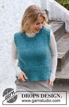 Vested Interest / DROPS 215-37 - Gratis strikkeoppskrifter fra DROPS Design Drops Design, Knitting Patterns Free, Knit Patterns, Free Knitting, Chunky Knitwear, Knit Vest Pattern, How To Start Knitting, Wool Vest, Knitted Poncho