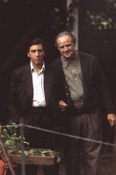 Characters: Michael Corleone (Al Pacino), Don Vito Corleone (Marlon Brando)