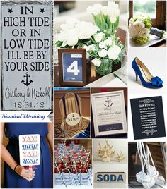 Nautical inspired wedding theme! Perfect for a summer wedding! I love the navy and white...thinking coral for the accent color :)