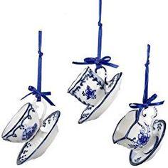 """Kurt Adler 2"""" Porcelain Delft Blue Cup and Saucer Ornament Set of 3"""
