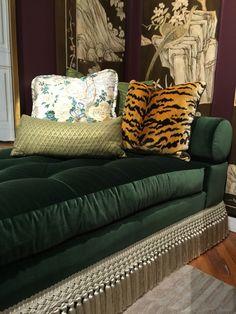 Cr laine sofa with samuel and sons skirt fringe pillows for Casa moderna hampton hickory