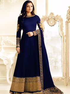 Attractive Blue Colored Wedding Wear Embroidered Anarkali Suit - All About Indian Gowns Dresses, Indian Fashion Dresses, Pakistani Bridal Dresses, Dress Indian Style, Pakistani Dress Design, Indian Designer Outfits, Indian Outfits, Silk Anarkali Suits, Lace Anarkali