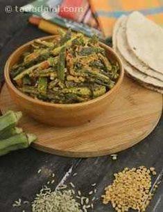 Achaari Dahi Bhindi by Tarla Dalal… Indian Vegetarian Dishes, Indian Veg Recipes, Vegetarian Recipes Dinner, Indian Dishes, Vegetarian Cooking, Cooking Recipes, Indian Foods, Vegan Recipes, Subzi Recipe