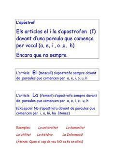 Quan cal apostrofar els articles definits EL y LA? Catalan Language, Spanish Grammar, Valencia, My Passion, Trip Planning, Classroom, Teaching, Books, Texts