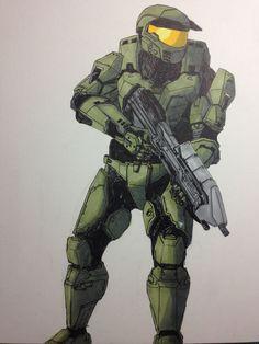"""It's a Mark V!"" Halo 2, Halo Drawings, John 117, Halo Cosplay, Sword Drawing, Halo Spartan, Halo Armor, Halo Master Chief, Halo Series"