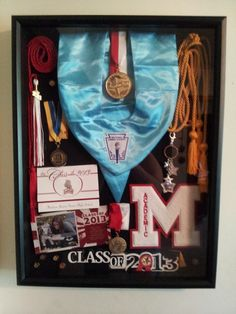 Neat way to display all your child's high school graduation memorabilia inst. - Senior Year of High School - Graduation Dress Graduation Open Houses, Graduation 2016, Graduation Celebration, High School Graduation, Graduate School, Graduation Ideas, Graduation Hood, Graduation Invitations, Graduation Pictures