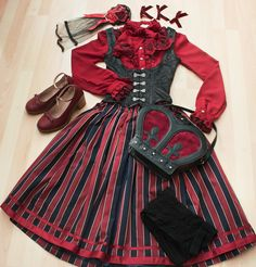 lovely lolita coords laid out on beds & floors