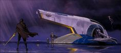 Concept art by DOUG CHIANG/Jango Fett and Boba Fett exiting Slave I