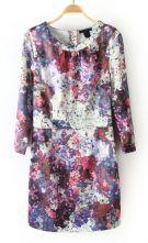 #SheInside  Purple Round Neck Back Zipper Floral Dress $31.45