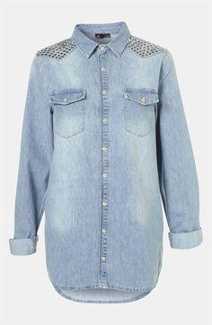 @Topshop 'Lionel' Studded Denim Shirt | #Nordstrom #style