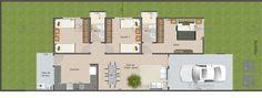 Versão do Projeto Cód. 137 com Garagem e 3 quartos... | Só Projetos