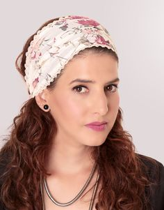 White modest headband bandanna with flowers by TAMARLANDAU on Etsy, $20.00