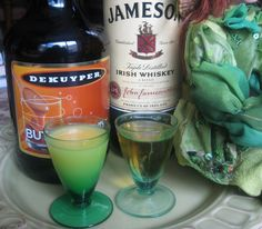 Irish Breakfast Shot – fill 1 shot glass with 1/2 shot of Jameson Irish Whiskey and 1/2 shot of Butterscotch Schnapps.  Fill the 2nd shot glass with 1 shot of orange juice.  Take the Whiskey/Butterscotch shot first, followed by the orange juice shot.  The mix of flavors in these shots creates the taste of PANCAKES in your mouth!