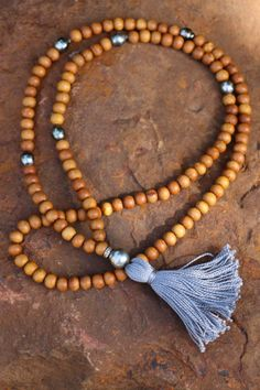 Sandalwood Pearl Tassel Mala Gray Tassel on by HappyGoLuckyJewels, $419.00