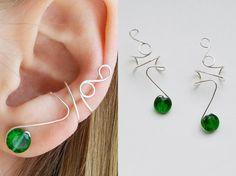 Ear cuff non pierced, 925 sterling silver, green earrings zircon ear cuff, gift…