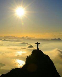 Gorgeous photo of Redeemer Christ in Corcovado Mountain, taking care of Rio de Janeiro city. RJ.Brazil.