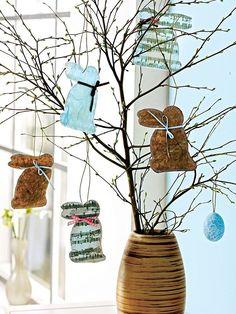 Está buscando inspiração de projetos para fazer na Páscoa? Essa árvore de galhos com coelhinhos é um graça e super fácil de fazer.