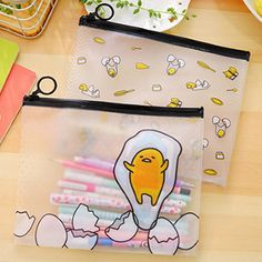 WO Pencil Pen Case Cosmetic Bag Clear Plastic Makeup Pouch Toiletry Holder New #Unbranded