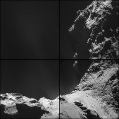 close-up photos of a comet from the Rosetta-Philae mission.  This montage was captured about 10 km away from the comet's center.