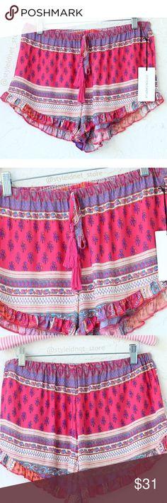 "Boheme Festival Style Shorts (Coachella) ❤️ BUNDLES  ❌ NO TRADES  ❌ NO Low balling!   • NEW! •  • Stretch Waist   * Material: - 100% Rayon   * MEASUREMENTS: - Size: M  - Length: 13"" Shorts"