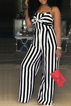 f47e804511 Hualong Wide Leg Black And White Striped Jumpsuit