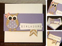 made by M@ggie: Eulen-Einladung Envelope Punch Board, Alphabet, Scrapbook, Handmade, Diy, Owl Invitations, Kid Birthdays, Crafts, Cards