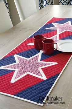 Summer Sizzler quilt pattern: This patriotic table runner designed by Barbara Cline is a smart salute to the celebrations of summer.