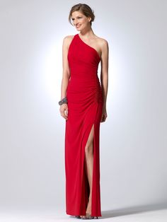 I love this one shoulder gown with beaded side panel