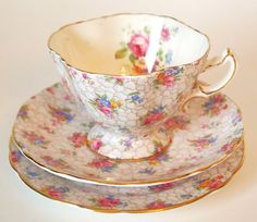 Hammersley & Co. Floral Chintz with Pink Roses Bone China Teacup and Saucer Trio 3 Piece Set - England