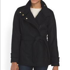 Rachel Roy wool blend belted coat product description  hits at hip heavyweight, polyester lining pockets, belted asymmetrical collar, snap and zip front model's height is 5ft. 10in. wool/polyester/viscose, rib: acrylic, lining: polyester imported dry clean Rachel Roy Jackets & Coats