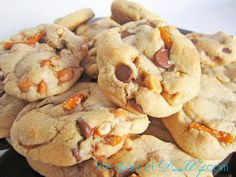 Salted Caramel Pretzel Chocolate Chip Cookies! I feel guilty just looking at the picture...