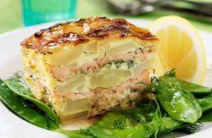 Laxpudding, alltommat.se, potatis, gratäng, lax, laga i ugn, allt i en form, fiskpudding, fisk, gravad lax