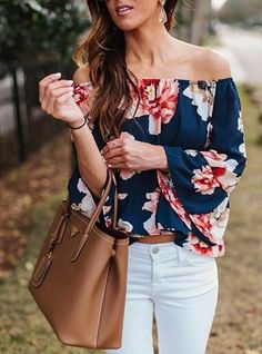 Women's Off Shoulder Casual Cropped Blouse - Navy / Pink / White / Floral Print